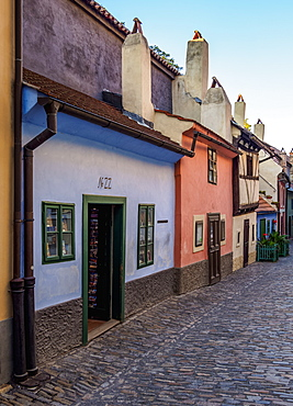 Golden Lane at Prague Castle, Prague, Bohemia Region, Czech Republic, Euope