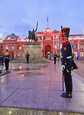 Twilight view of the Casa Rosada on Plaza de Mayo, City of Buenos Aires, Buenos Aires Province, Argentina, South America