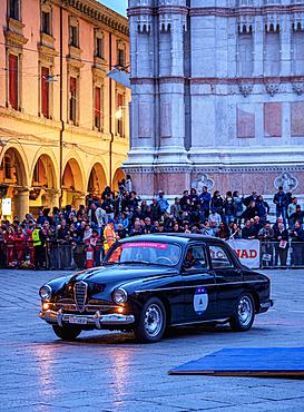 Alfa Romeo vintage car, 1000 Miglia, at Piazza Maggiore, Bologna, Emilia-Romagna, Italy, Europe