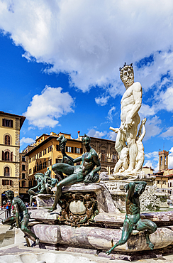 Fountain of Neptune, Piazza della Signoria, Florence, Tuscany, Italy, Europe