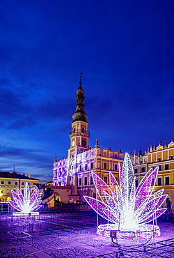 Christmas decorations at the main square of Zamosc, Lublin Voivodeship, Poland, Europe