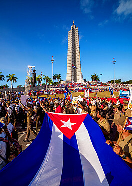 1st of May Labour Day Parade, Plaza de la Revolucion (Revolution Square), Havana, La Habana Province, Cuba, West Indies, Caribbean, Central America