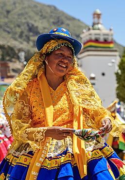 Dancer in traditional costume, Fiesta de la Virgen de la Candelaria, Copacabana, La Paz Department, Bolivia, South America