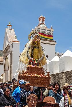 Our Lady of Copacabana figure in the procession, Fiesta de la Virgen de la Candelaria, Copacabana, La Paz Department, Bolivia, South America