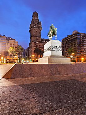 Twilight view of Independence Square, Montevideo, Uruguay, South America