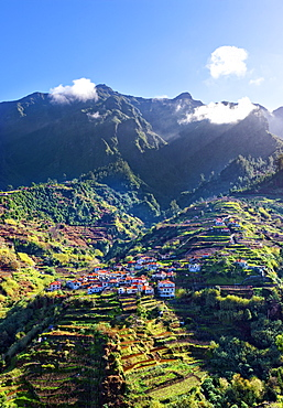 Elevated view of village and tree covered hills and mountains near Ponta Delgada, Madeira, Portugal, Atlantic, Europe - 1246-34