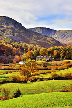 An autumn view of the scenic Langdale Valley, Lake District National Park, Cumbria, England, United Kingdom, Europe - 1246-6