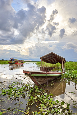 Riverboat docked in affluent of Amazon River, near Iquitos, Peru, South America