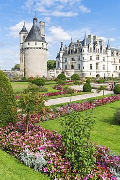 Summer flowers in the park of Chenonceau castle, UNESCO World Heritage Site, Chenonceaux, Indre-et-Loire, Centre, France, Europe