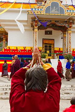 Prayers at the Memorial Stupa of Bhutan's capital city of Thimphu, Bhutan, Asia