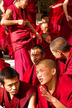 The debating Tibetan Buddhist monks of Sera Monastery, Lhasa, Tibet, China, Asia