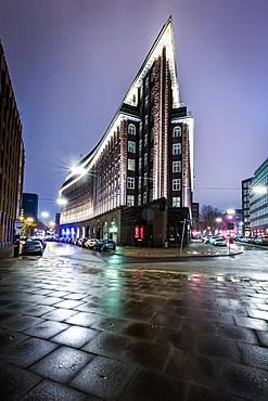 The Chilehaus (Chile House) office building at night, Hamburg, Germany, Europe