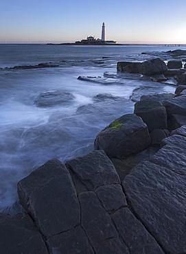 St. Marys Lighthouse on St. Marys Island at Whitley Bay, North Tyneside, England, United Kingdom, Europe