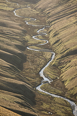 View down Langdale Beck in winter in the Howgill Fells near Sedbergh, Cumbria, England, United Kingdom, Europe