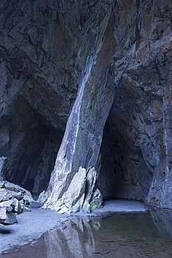 Cathedral Cave and Cavern slate quarry above Little Langdale in the Langdale Pikes, Lake District National Park, UNESCO World Heritage Site, Cumbria, England, United Kingdom, Europe