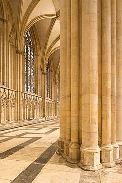 Stone pillars and ornate mosaic floor inside York Minster, York, North Yorkshire, England, United Kingdom, Europe