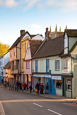 Multicoloured rickety old shops, pubs and cafes on Bridge Street, Cambridge, Cambridgeshire, England, United Kingdom, Europe