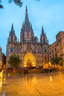 The Cathedral of the Holy Cross and Saint Eulalia at dusk and in the rain, Barcelona, Catalonia, Spain, Europe