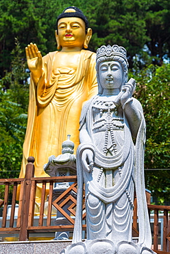 Statues at Buddhist temple in Busan, South Korea, Asia