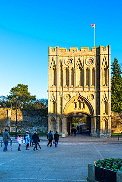 Abbeygate (Great Gate), a medieval tower giving access to the Abbey Gardens and the site of the medieval abbey ruins, Bury St. Edmunds, Suffolk, England, United Kingdom, Europe