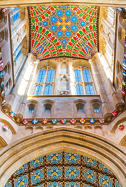 Decorative ceiling of St. Edmundsbury Cathedral tower, Bury St. Edmunds, Suffolk, England, United Kingdom, Europe