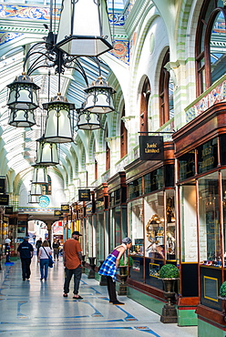 The Royal Arcade designed architect George Skipper in Arts and Crafts style in the nineteenth century, Norwich, Norfolk, England, United Kingdom, Europe