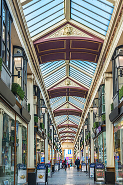 The Arcade between Broadmead and The Horsefair is a delightful 18th century shopping arcade. Bristol. Avon. England. UK.