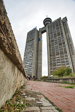 Genex Tower, brutalist architecture from former Yugoslavia Communist era, Belgrade, Serbia, Europe