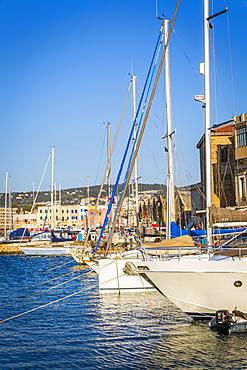Yachts at Venetian Harbour, Chania, Crete, Greek Islands, Greece, Europe