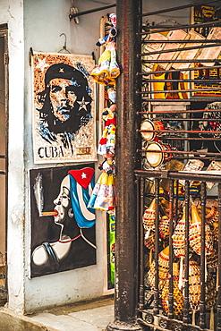Souvenirs for sale in a market in La Habana (Havana), Cuba, West Indies, Caribbean, Central America