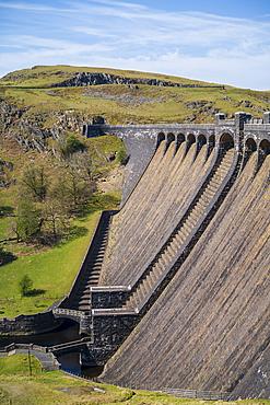 Claerwen Dam in the Elan Valley in Wales, United Kingdom, Europe