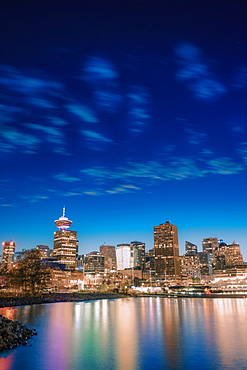 Vancouver skyline and high rise buildings at night, Vancouver, British Columbia, Canada, North America