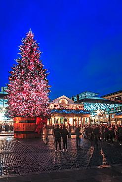 Christmas tree, Covent Garden, London, England, United Kingdom, Europe