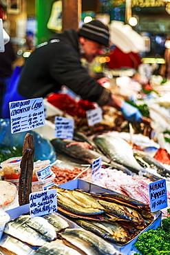 Fish stand in Borough Market, Southwark, London, England, United Kingdom, Europe