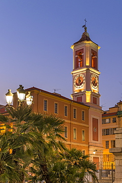 Palais Rusca and clock tower at the Courthouse Square (Place du Palais de Justice), Nice, Alpes Maritimes, Cote d'Azur, French Riviera, Provence, France, Mediterranean, Europe