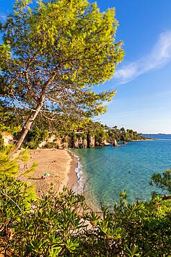 Platis Gialos Beach seen from above, Kefalonia, Ionian Islands, Greece, Europe