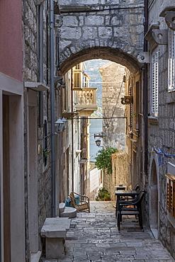 Narrow street in the old town of Korcula Town, Croatia, Europe