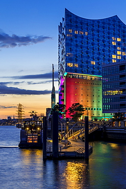 The Elbphilharmonie building with Pride illumination during the Christopher Street Day weekend in 2017, Hamburg, Germany, Europe