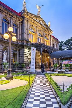 The National Theatre (Teatro Nacional) at dusk, San Jose, Costa Rica, Central America