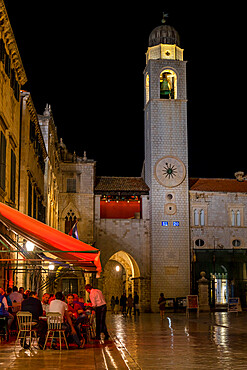 Clock tower at Stradun in the old town of Dubrovnik, UNESCO World Heritage Site, Croatia, Europe