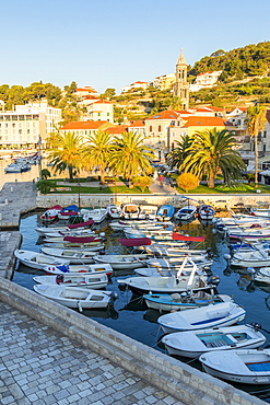 Elevated view over the port of Hvar Town at sunrise, Hvar, Croatia, Europe