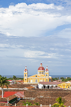 The Cathedral of Granada seen from the bell tower of La Merced church, Granada, Nicaragua, Central America