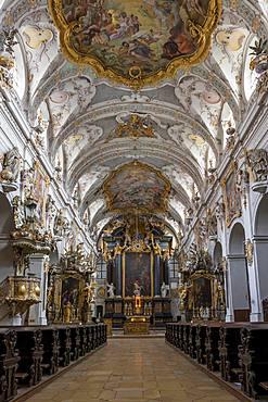 Interior of the Romanesque St. Emmeram's Basilica, Regensburg, UNESCO World Heritage Site, Bavaria, Germany, Europe