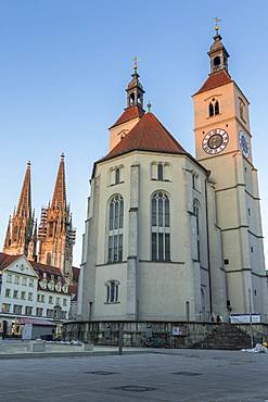 Cathedral of St. Peter and Neupfarrkirche at last sunlight, Regensburg, Bavaria, Germany, Europe