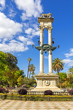 Christopher Columbus Monument at Murillo Gardens (Jardines de Murillo), Seville, Andalusia, Spain, Europe