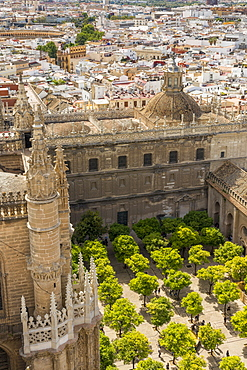 View from the Giralda Bell Tower down to the inner courtyard of the Cathedral of Seville, UNESCO World Heritage Site, Seville, Andalusia, Spain, Europe