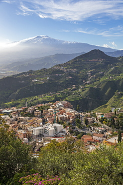 View from Madonna della Rocca church over Taormina and to Mount Etna, Taormina, Sicily, Italy, Europe