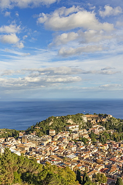View from Madonna della Rocca church down to the city centre, Taormina, Sicily, Italy, Europe