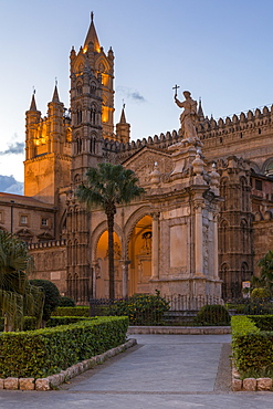 The Palermo Cathedral (UNESCO World Heritage Site) at dusk, Palermo, Sicily, Italy, Europe