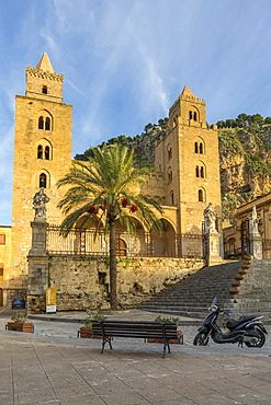 The Cathedral of Cefalu, UNESCO World Heritage Site, with Rocca di Cefalu in the background at sunset, Cefalu, Sicily, Italy, Europe